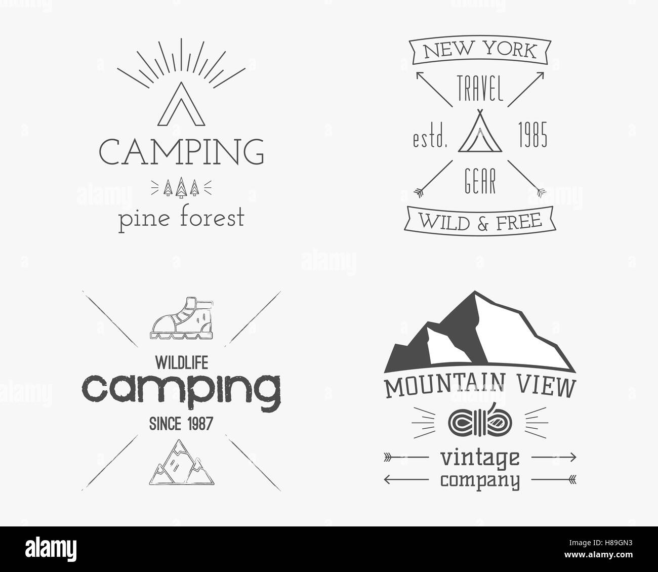 Mountain And Family Forest Camp Badge, Logo And Label Template. Travel,  Hiking, Climbing Style. Outdoor Monochrome And Line Design. Best For  Adventure Sites