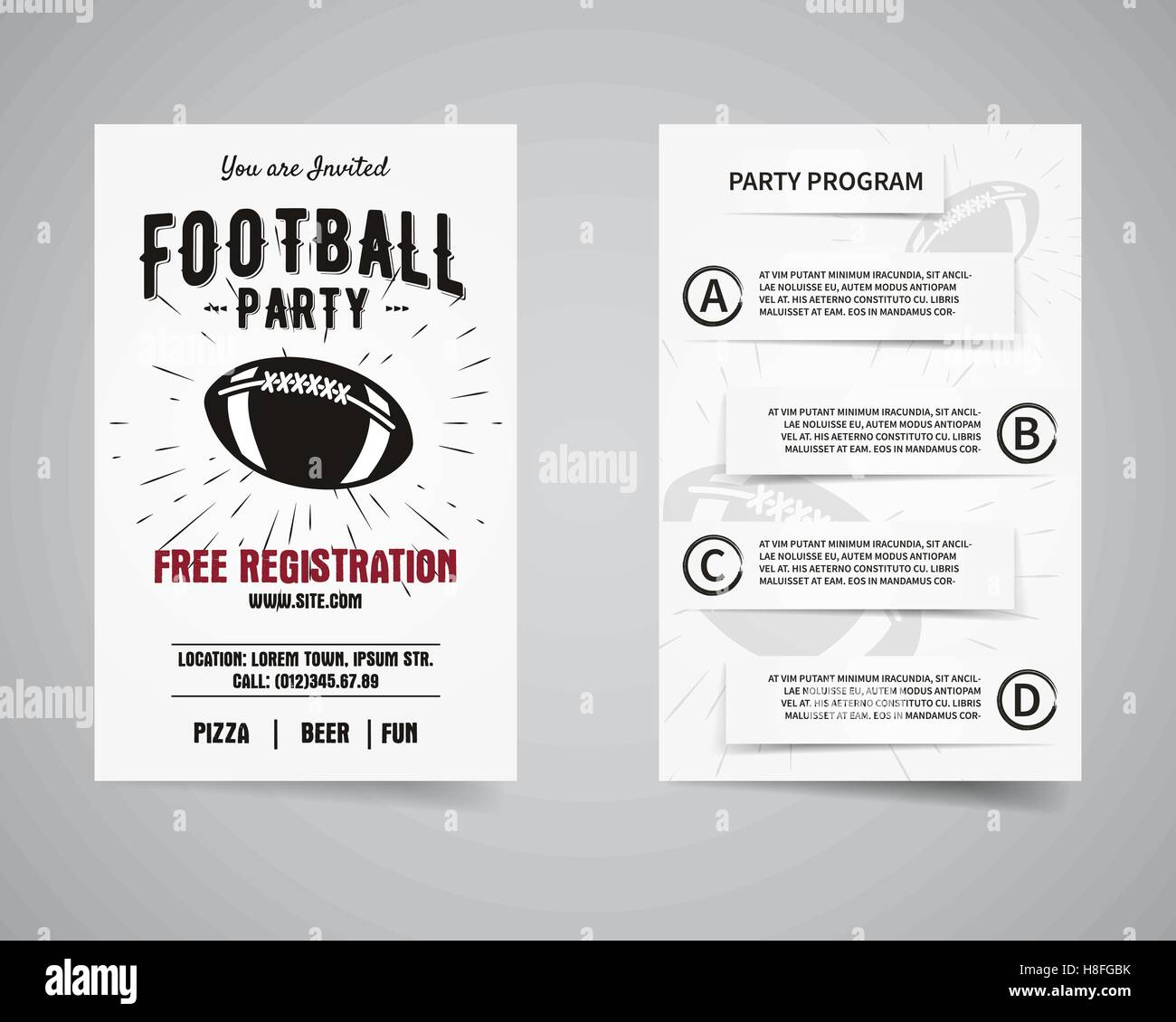 American Football Party Back And Front Flyer Template Design. Invitation  Template. Usa Sport Brand Identity Letterhead. Party Poster And Brochure  With