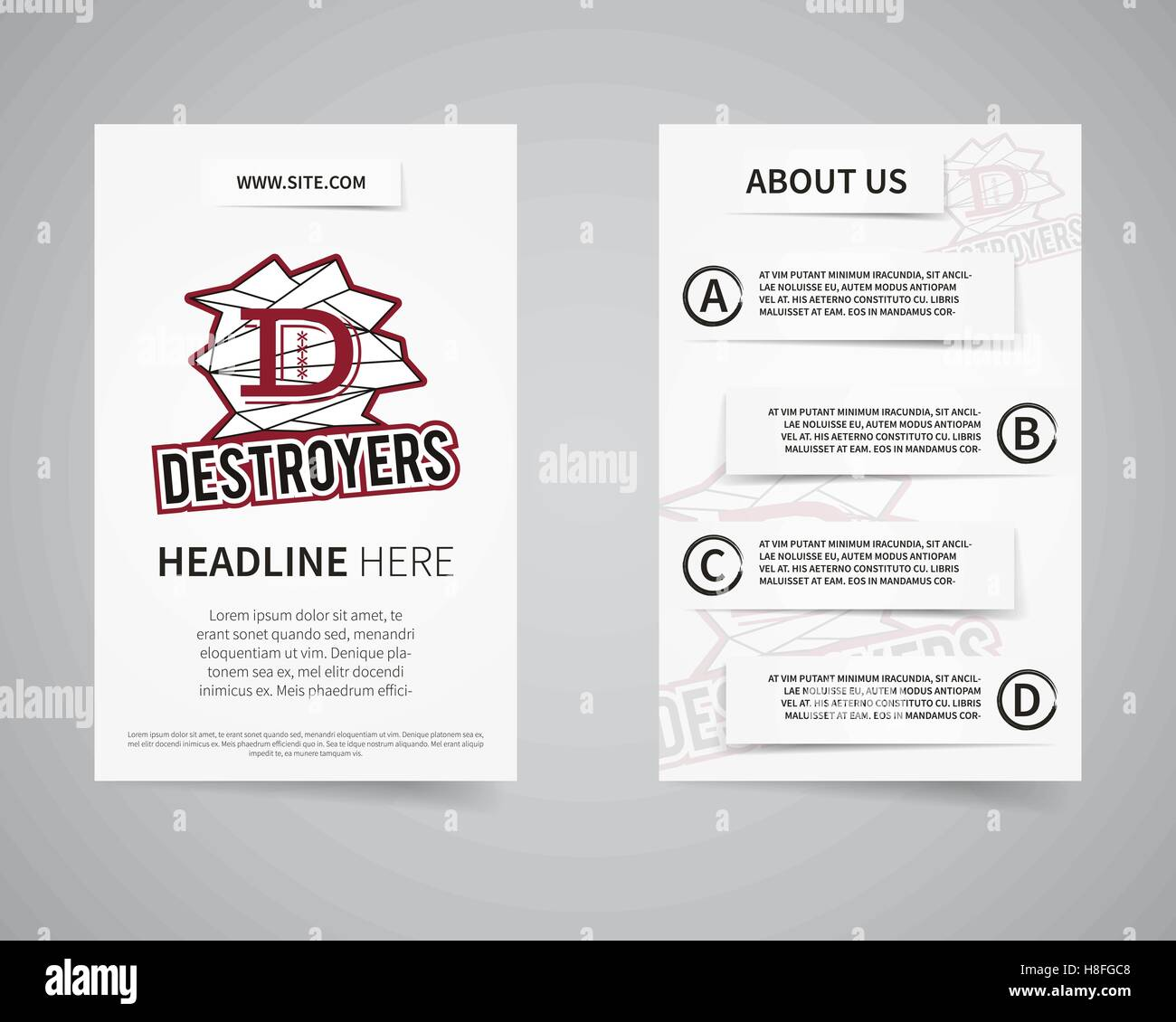 American Football College Team Back And Front Flyer Template Design. Usa  Sport Brand Identity Letterhead. Poster, Brochure And Banner With  Typography,