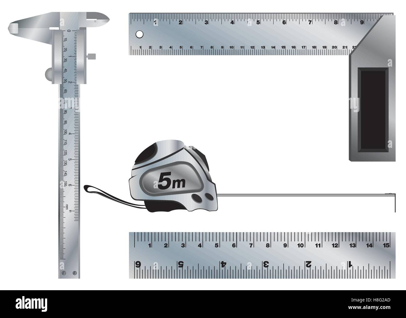 hight resolution of angle vernier caliper ruler tape measure tool isolated