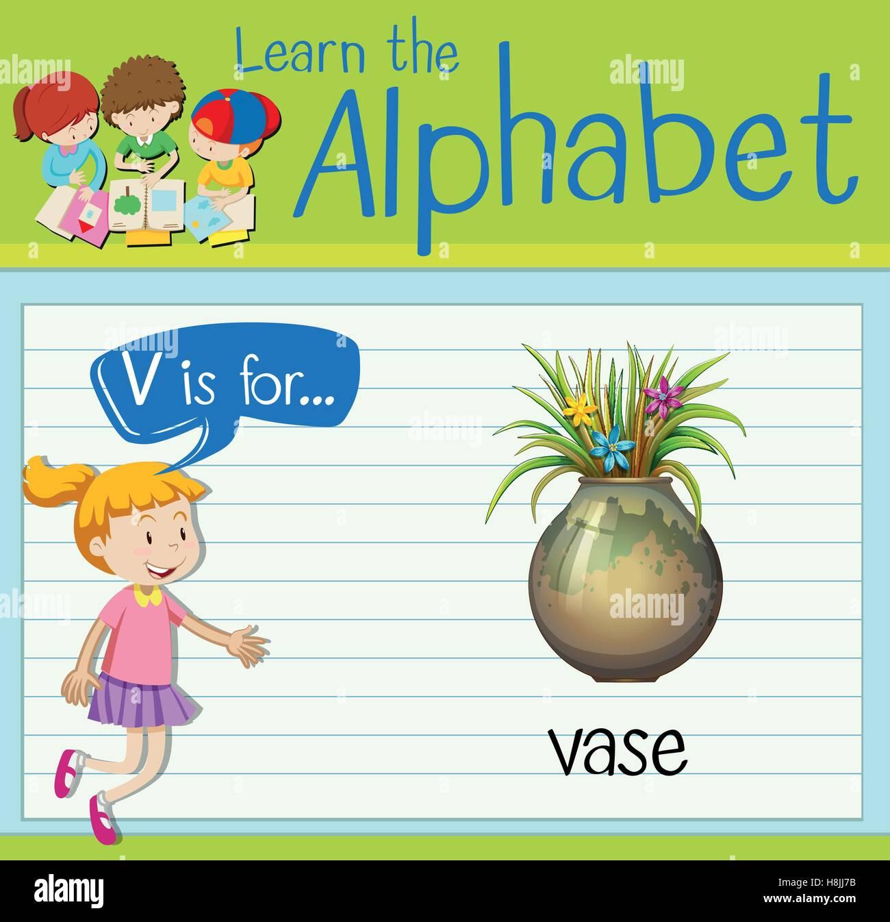 Flashcard Letter V Is For Vase Illustration Stock Vector