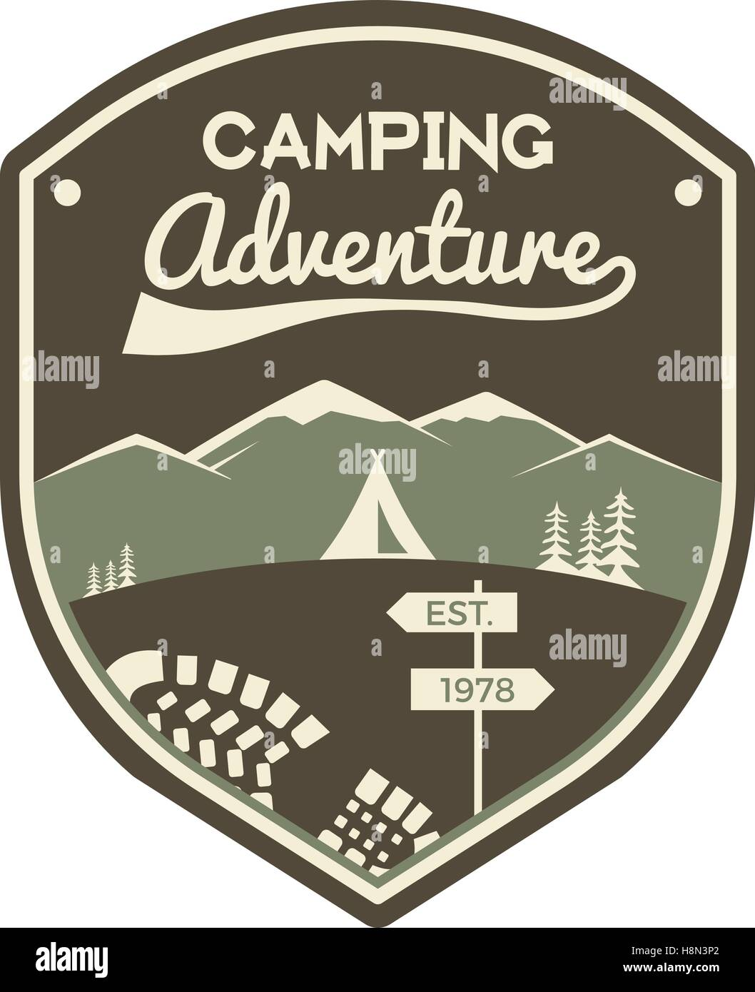 camping adventure label mountain