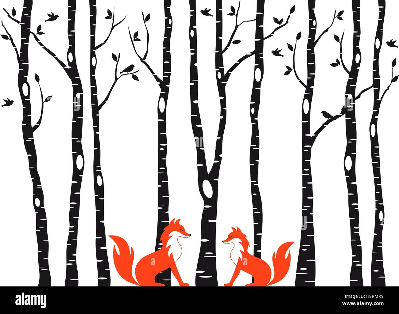 Cute Foxes In Birch Tree Forest Vector Illustration Over