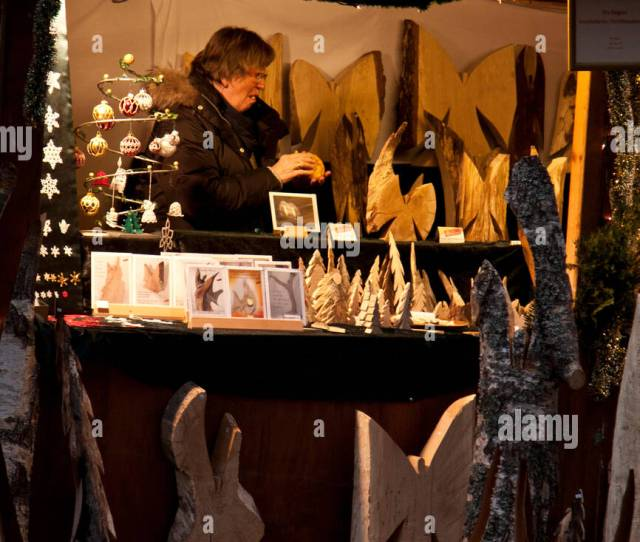 Christmas Market Hohenzollern Castle Hechingen Germany Woman Selling Wooden Angels And Holiday Ornaments