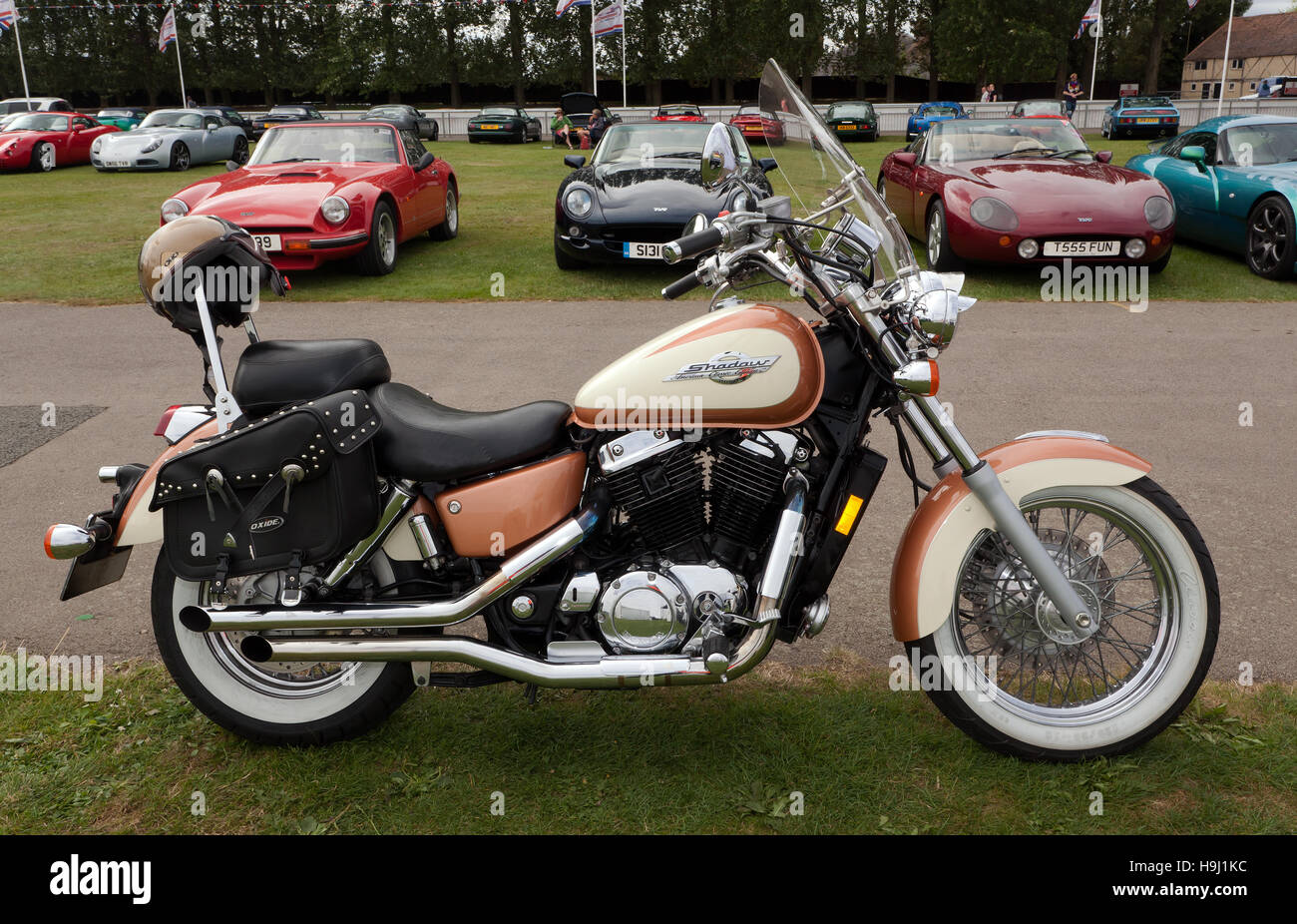 hight resolution of image of a honda shadow motorcycle american classic edition displayed in one of the car club areas of the silverstone classic