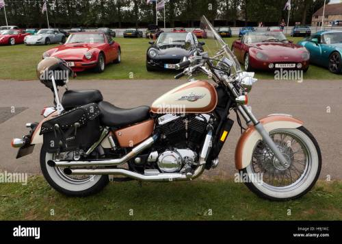 small resolution of image of a honda shadow motorcycle american classic edition displayed in one of the car club areas of the silverstone classic