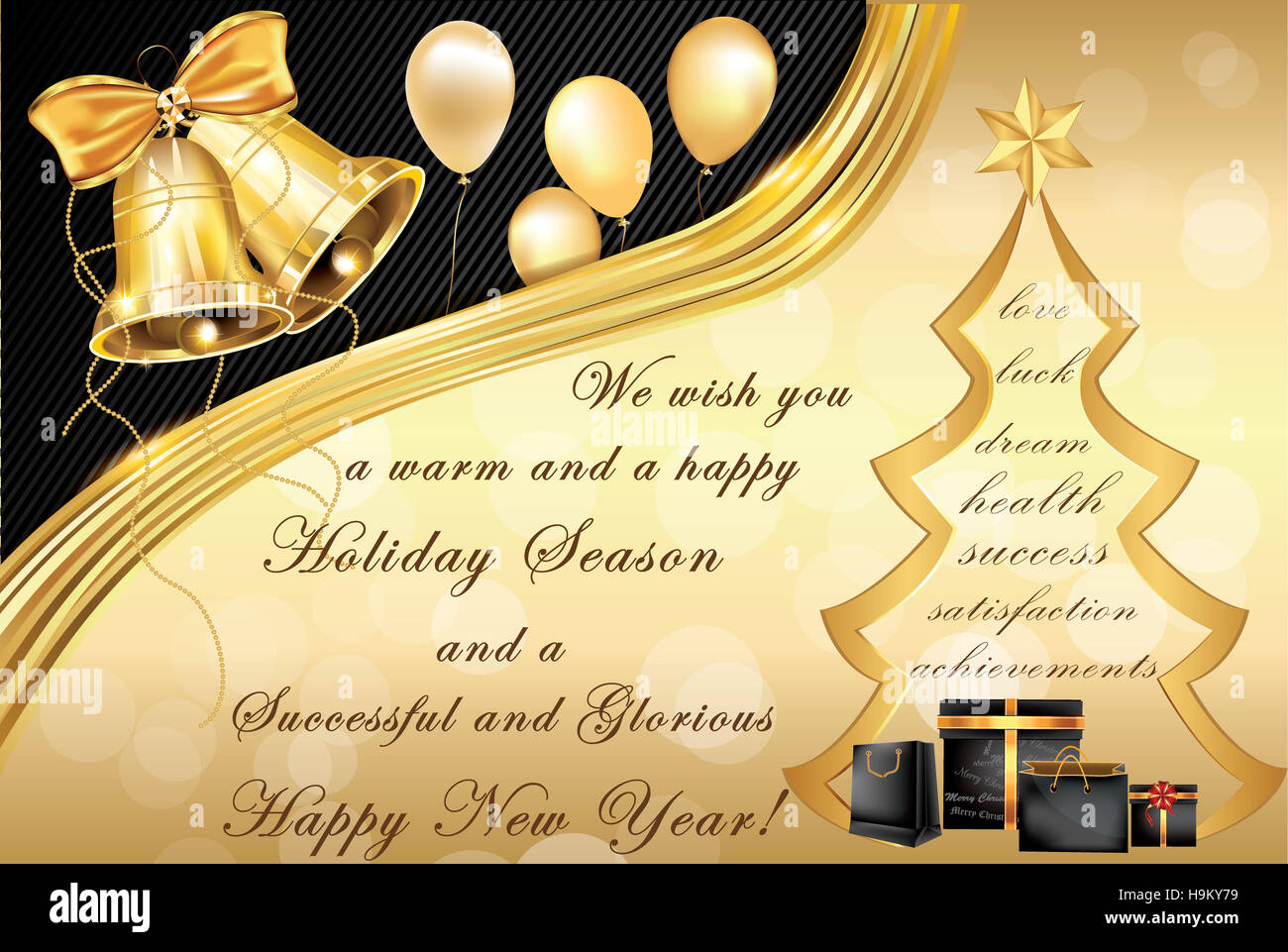 Elegant Corporate Christmas And New Year Greeting Card