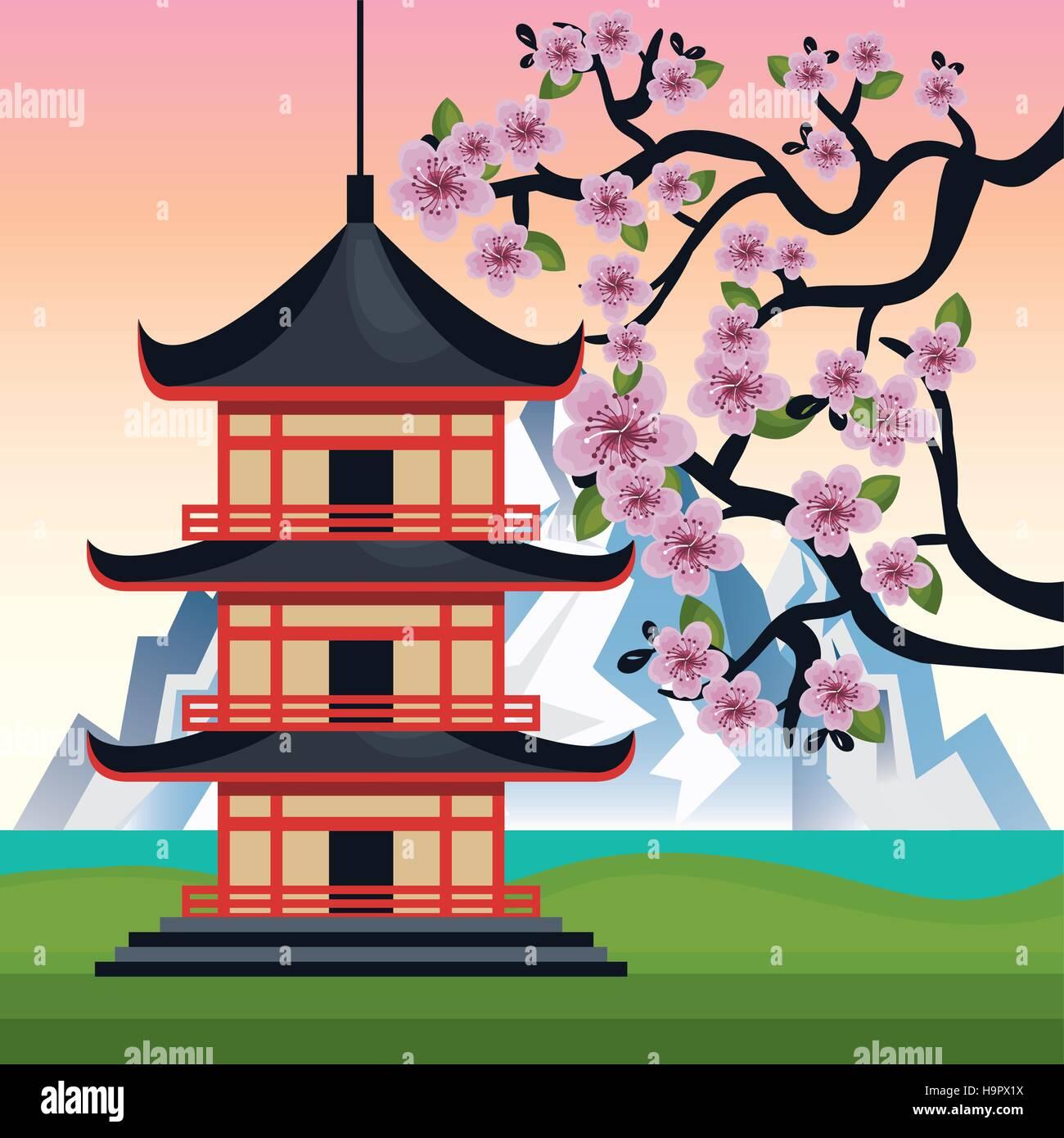 Japan Culture Poster Icon Vector Illustration Design Stock