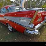 Red And White Chevrolet Victoria Belair Pillarless Two Door American Stock Photo Alamy