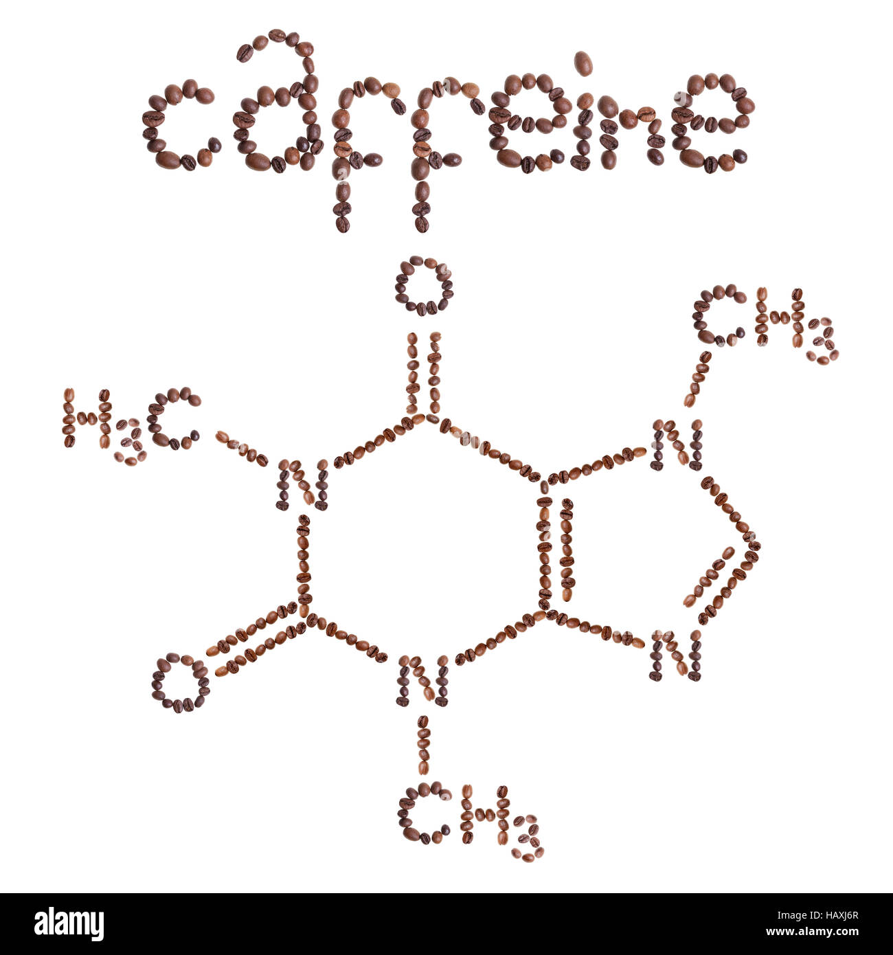 hight resolution of caffeine chemical molecule structure the structural formula of caffeine with dark brown coffee beans
