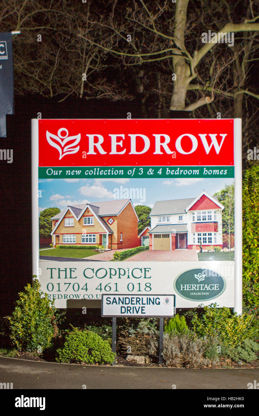 Signs for a Redrow new build houses construction site