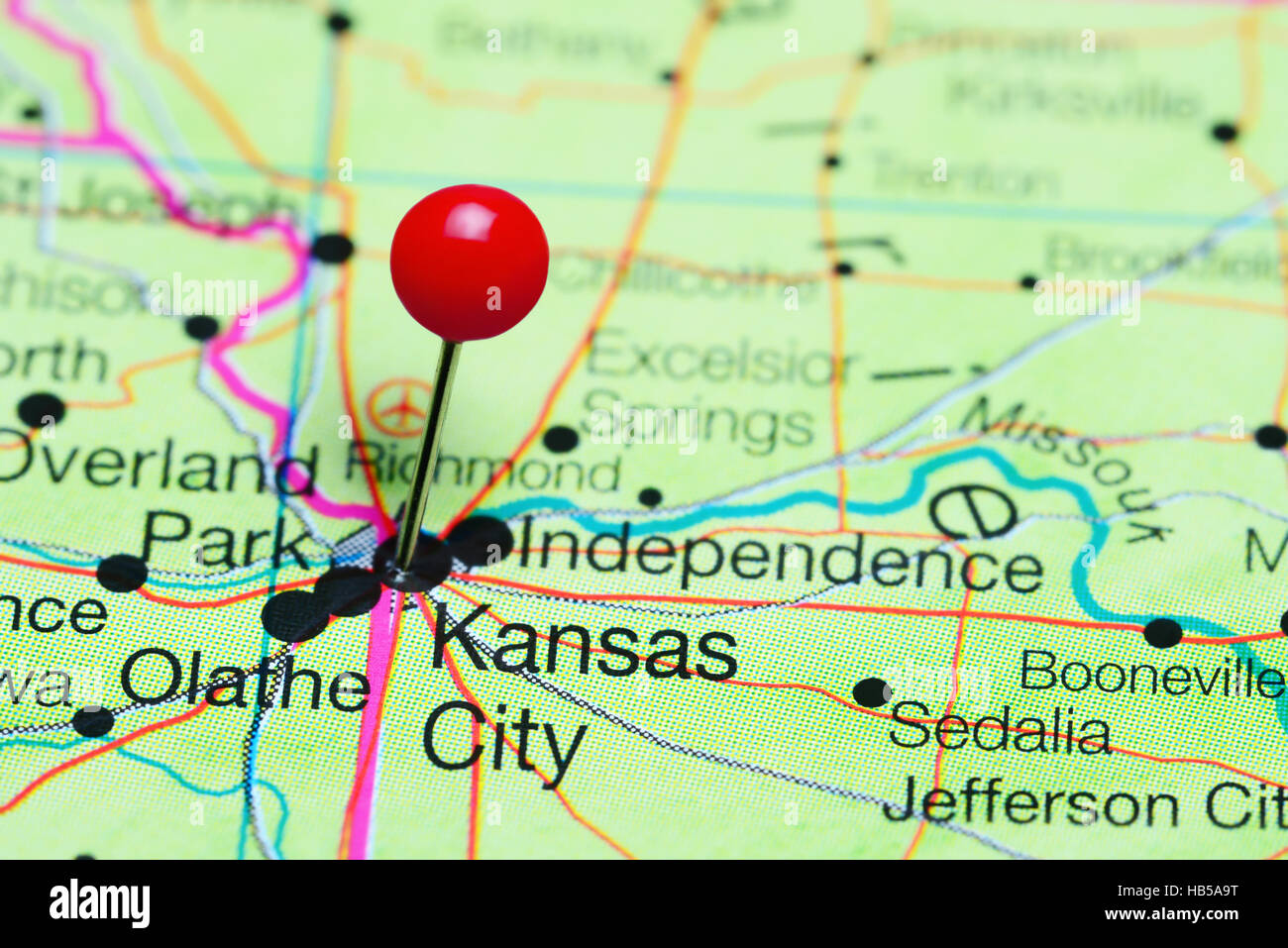 Kansas city, missouri (informally abbreviated kc) is the largest city in the u.s. Kansas City Pinned On A Map Of Missouri Usa Stock Photo Alamy