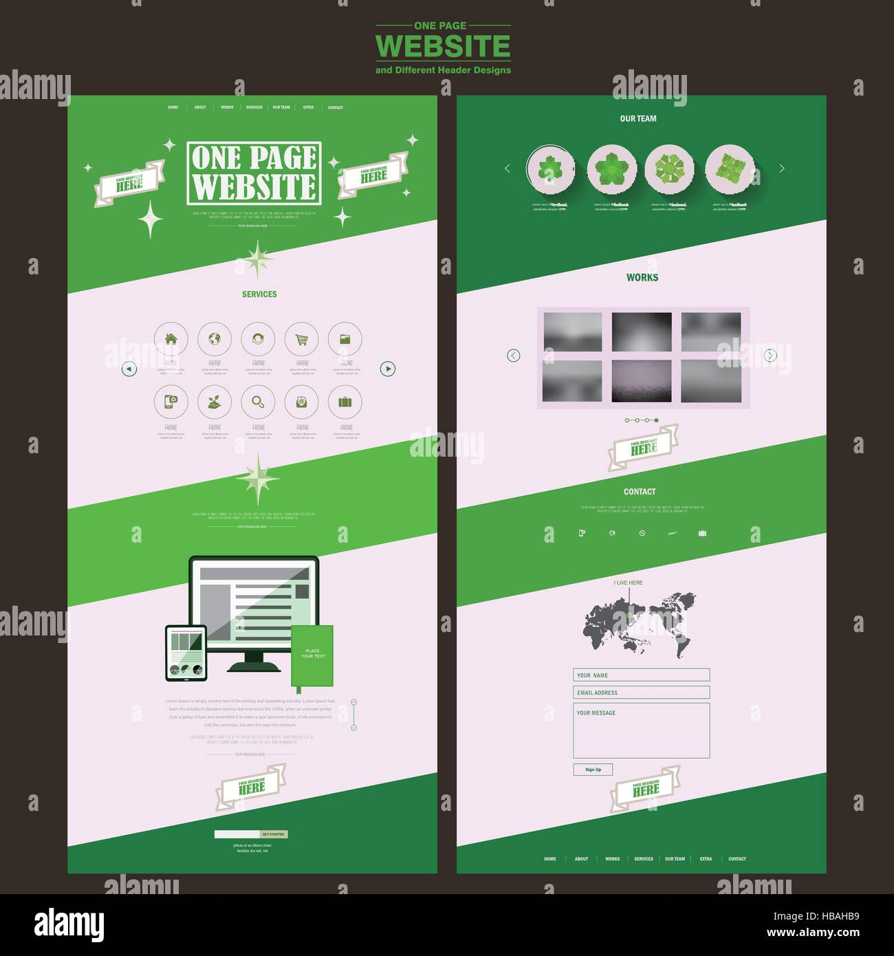 Building a photography portfolio has never been easier. Simplicity One Page Website Template Design In Green And White Stock Vector Image Art Alamy