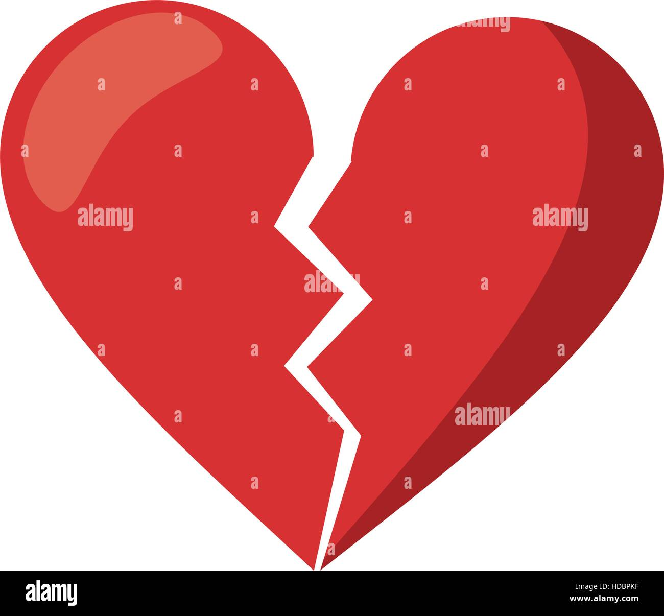 Red Heart Broken Sad Separation Stock Vector Image Art Alamy