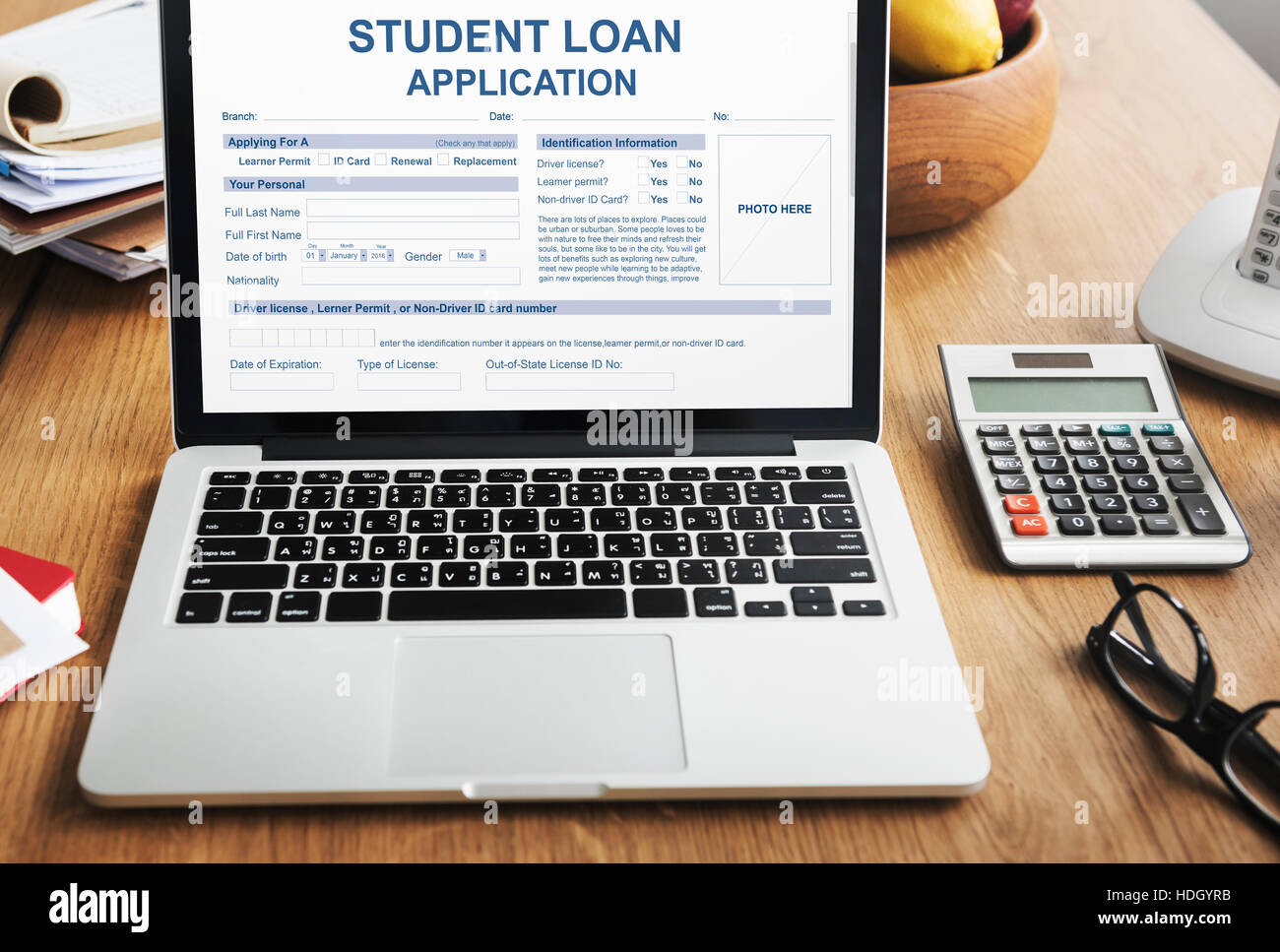 Student Loan Application Form Glasses Stock Photos & Student Loan ...