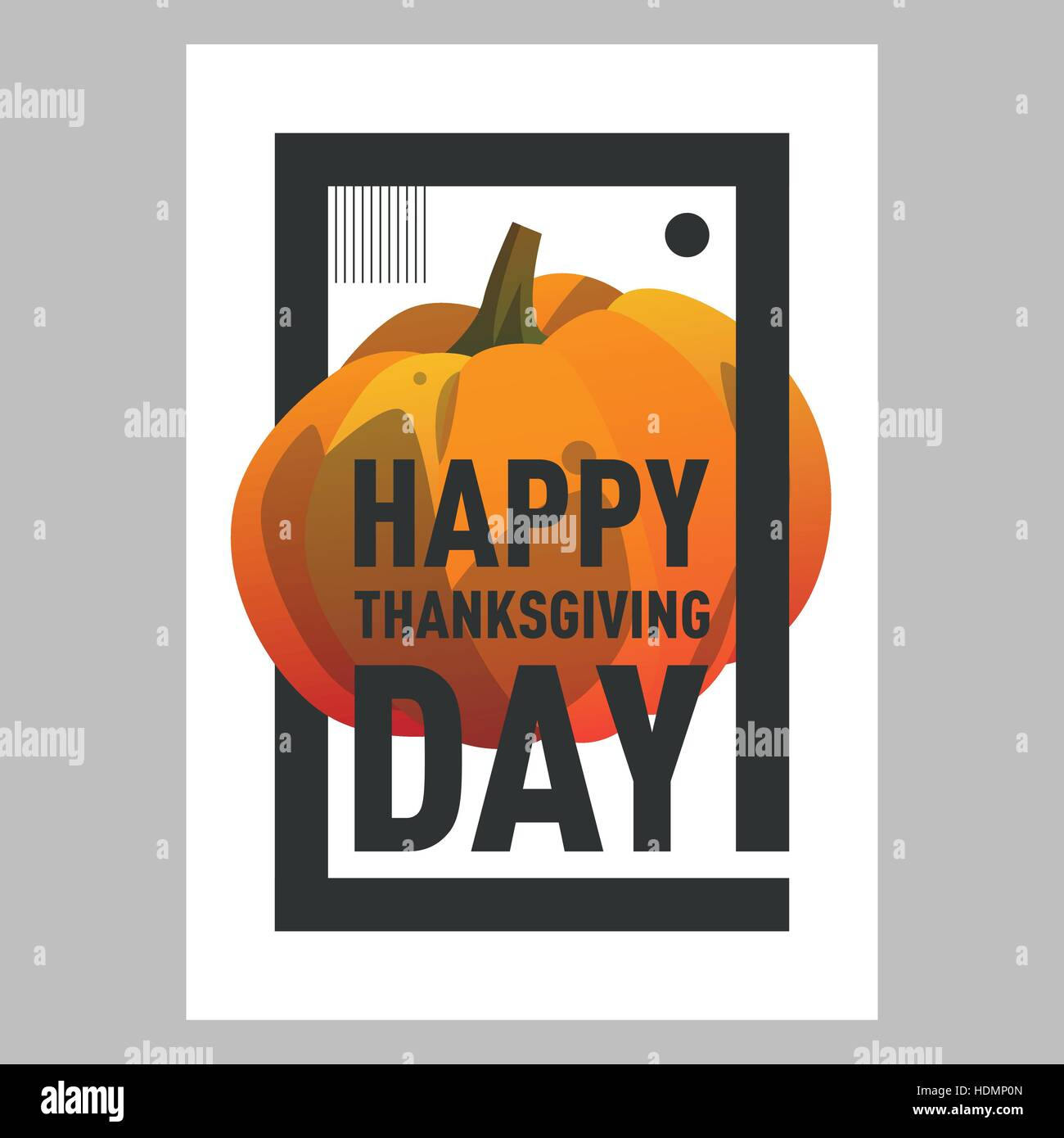 Happy Thanksgiving Day Postcard Template With Pumpkin. Modern Postcard  Cartoon Style With Gradient. Autumn Holiday Postca
