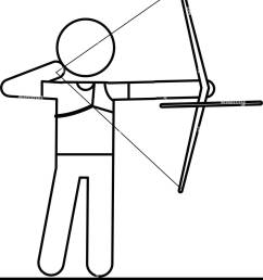 archery player aiming bow game outline stock image [ 1157 x 1390 Pixel ]