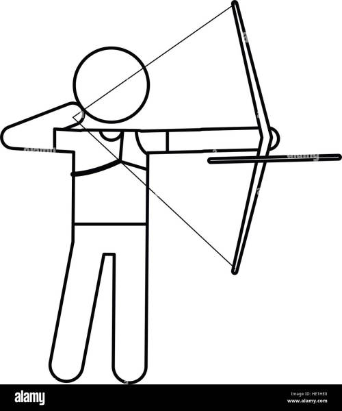 small resolution of archery player aiming bow game outline stock image