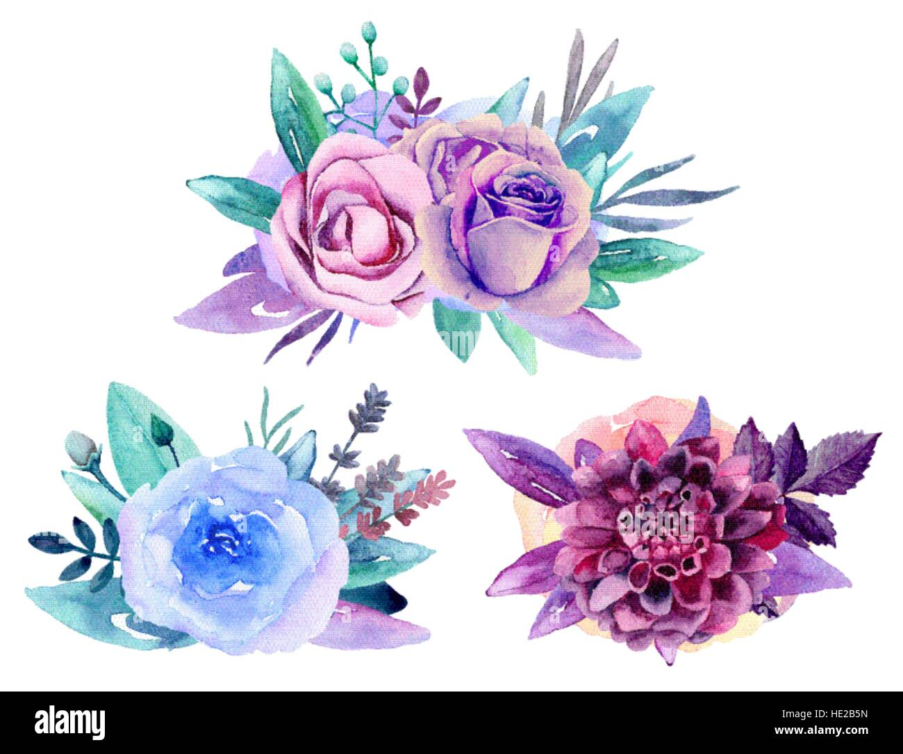 purple watercolor flowers stock