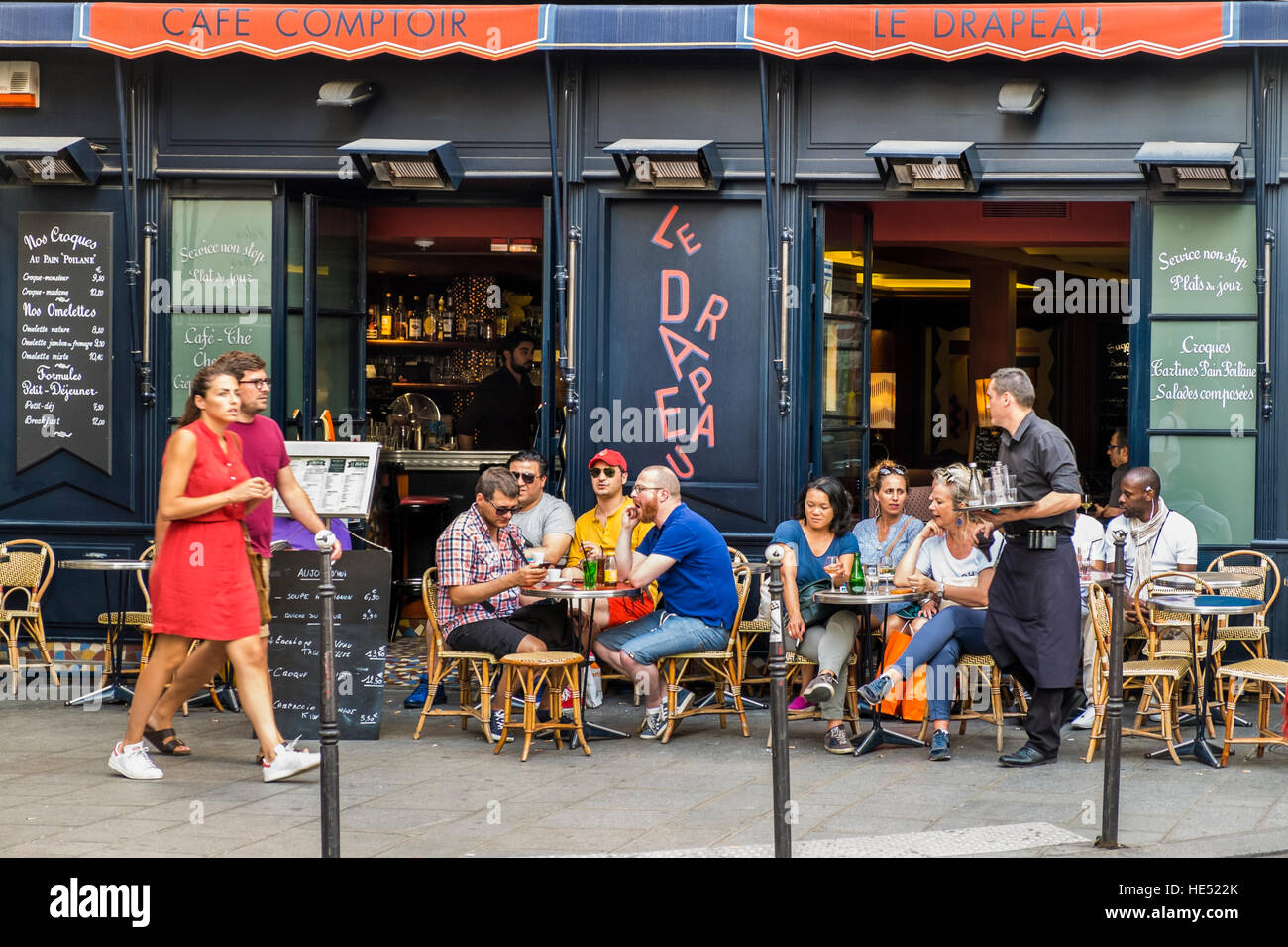 https www alamy com stock photo street scene in front of le drapeau cafe comptoir 129189163 html