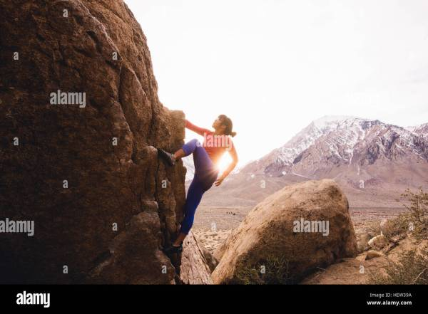 Woman Rock Climbing Buttermilk Boulders Bishop California Usa Stock Royalty Free