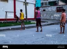 Kids Playing Barefoot Street Boys