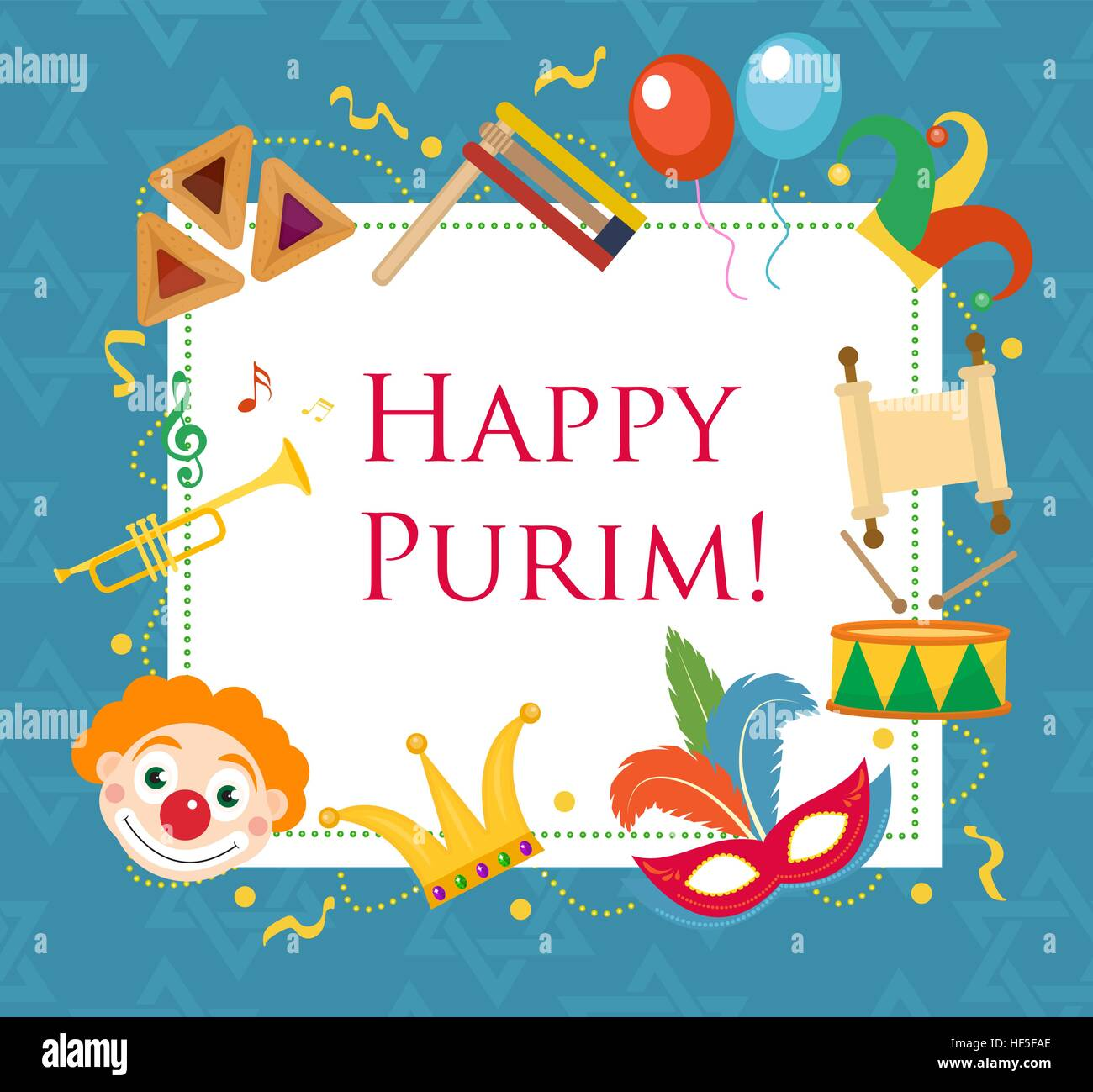 Happy Purim Template Greeting Card Poster Flyer Frame
