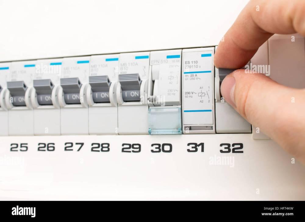 medium resolution of man turning on the fuse box