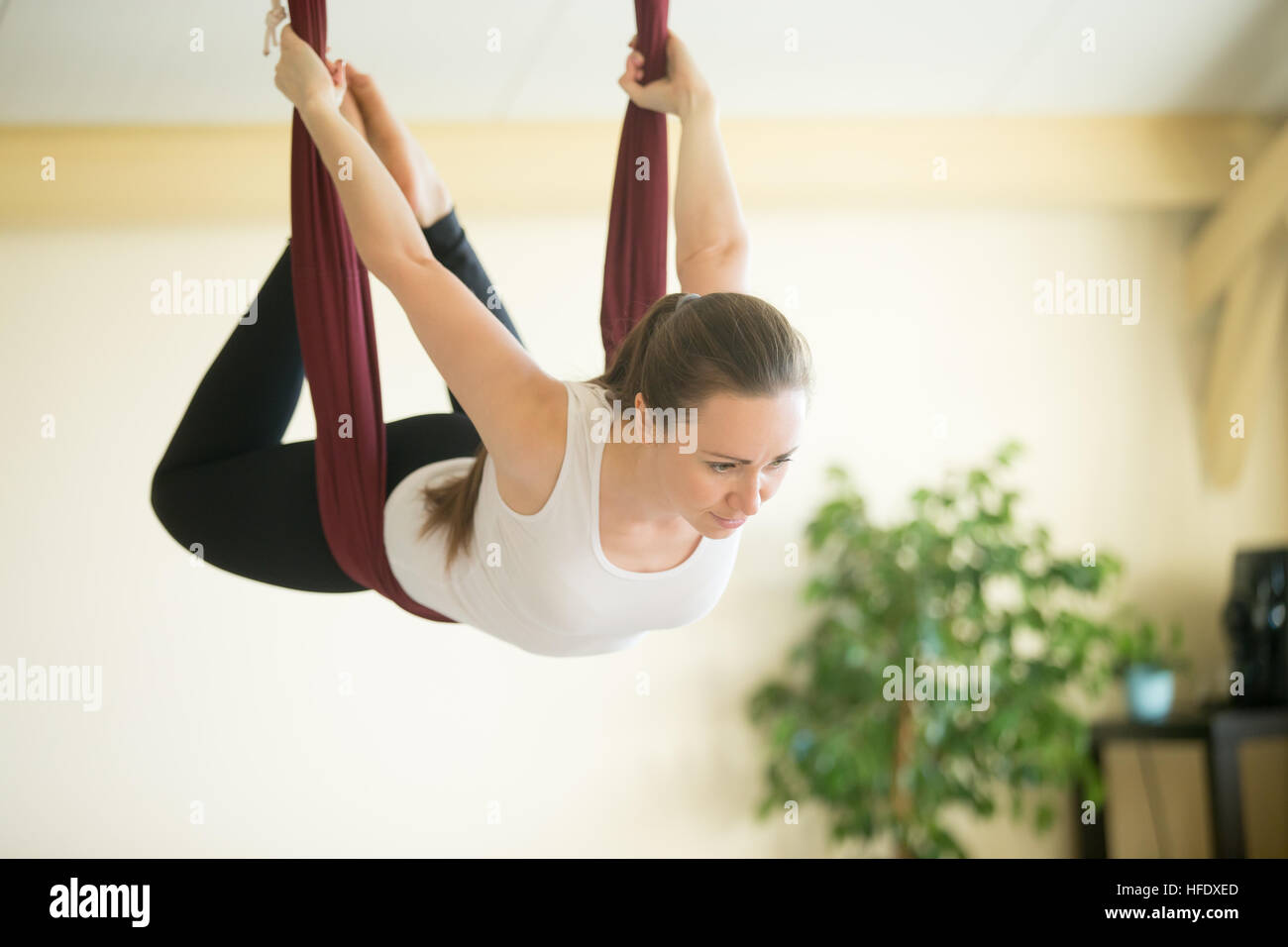 Aerial Yoga Flying In Hammock Stock Photo Royalty Free