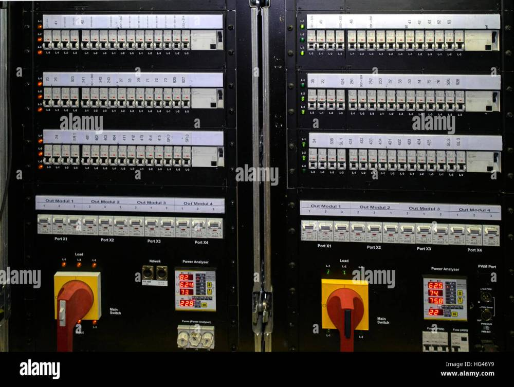 medium resolution of fuse box with switch and lights stock image