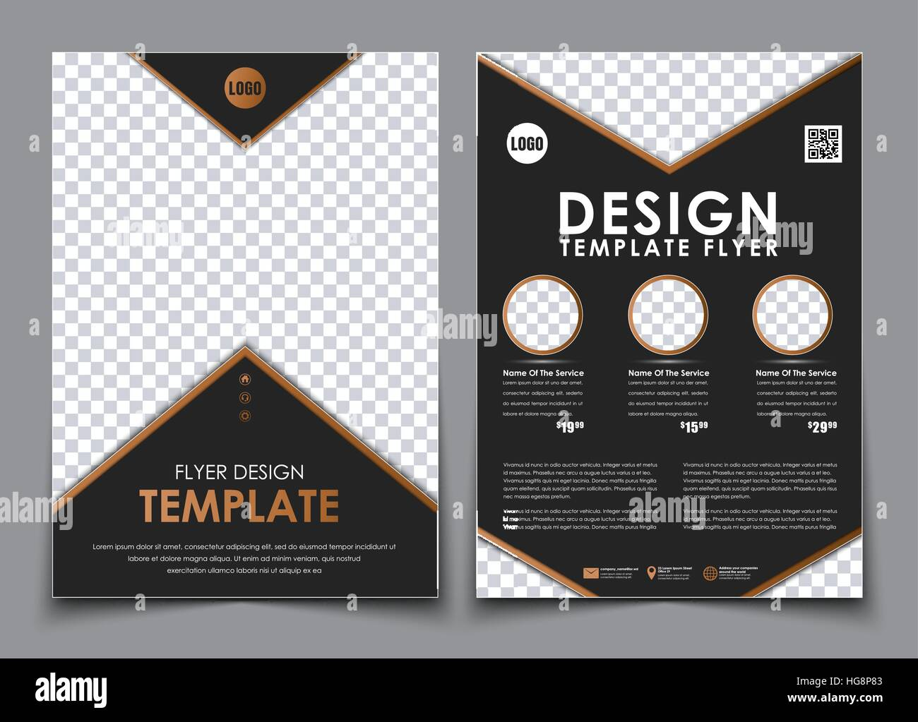 Template Black A4 Brochures Design 2 Pages Flyer With