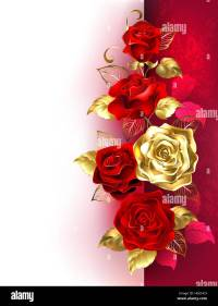 Design with red and gold roses on a white and red ...
