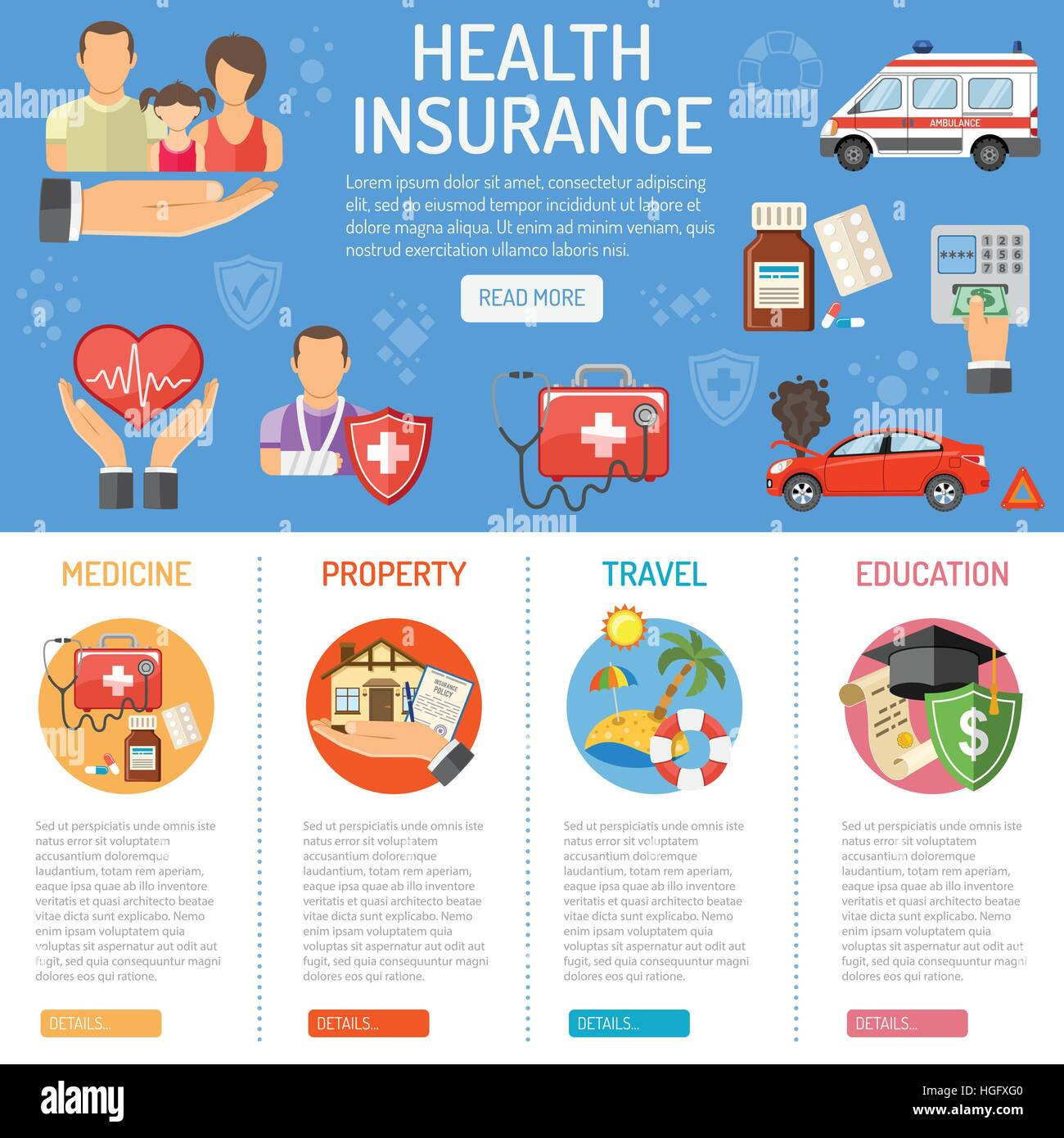 Insurance Services Infographics Stock Vector Art