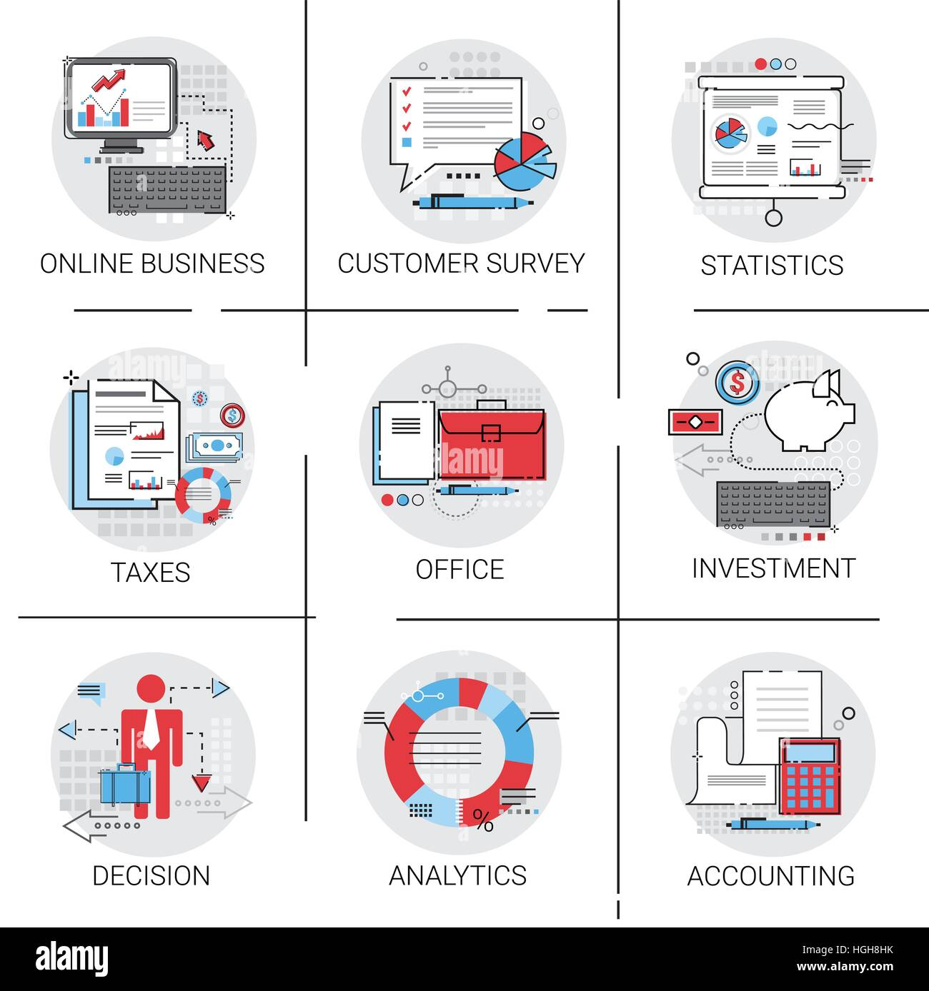hight resolution of online business analysis statistics finance diagram office work icon set