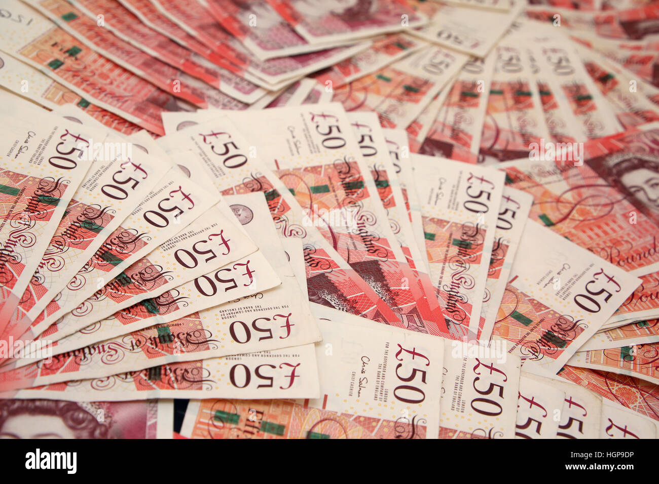 Great Britain 50  fifty pounds sterling notes Money spread out Stock Photo 130797458  Alamy