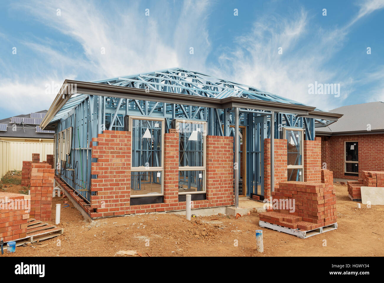 New Residential Construction Home From Brick With Metal