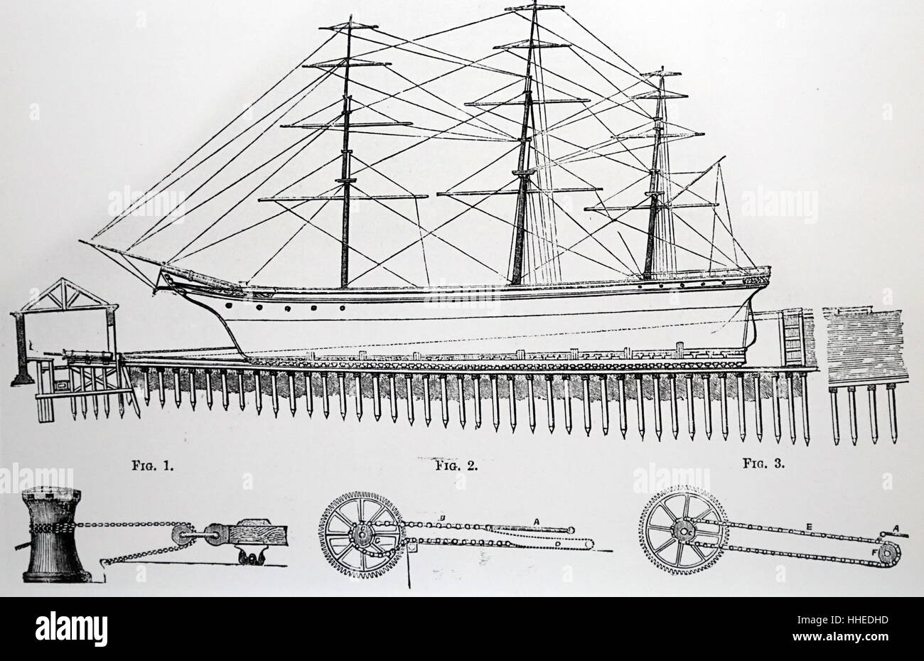 hight resolution of diagram of a special dry dock for hauling up a ship for repairs designed by thomas morton of leith dated 19th century