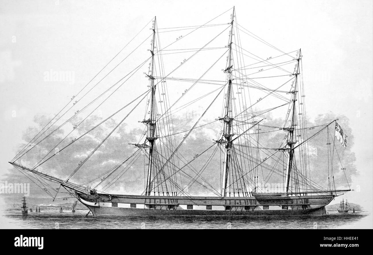 standing rigging diagram spotlight relay wiring spars ship stock photos of a hull and dated 19th century