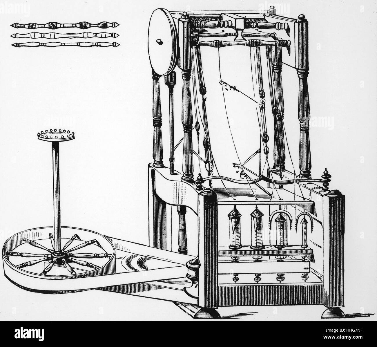hight resolution of illustration depicting arkwright s water frame spinning machine