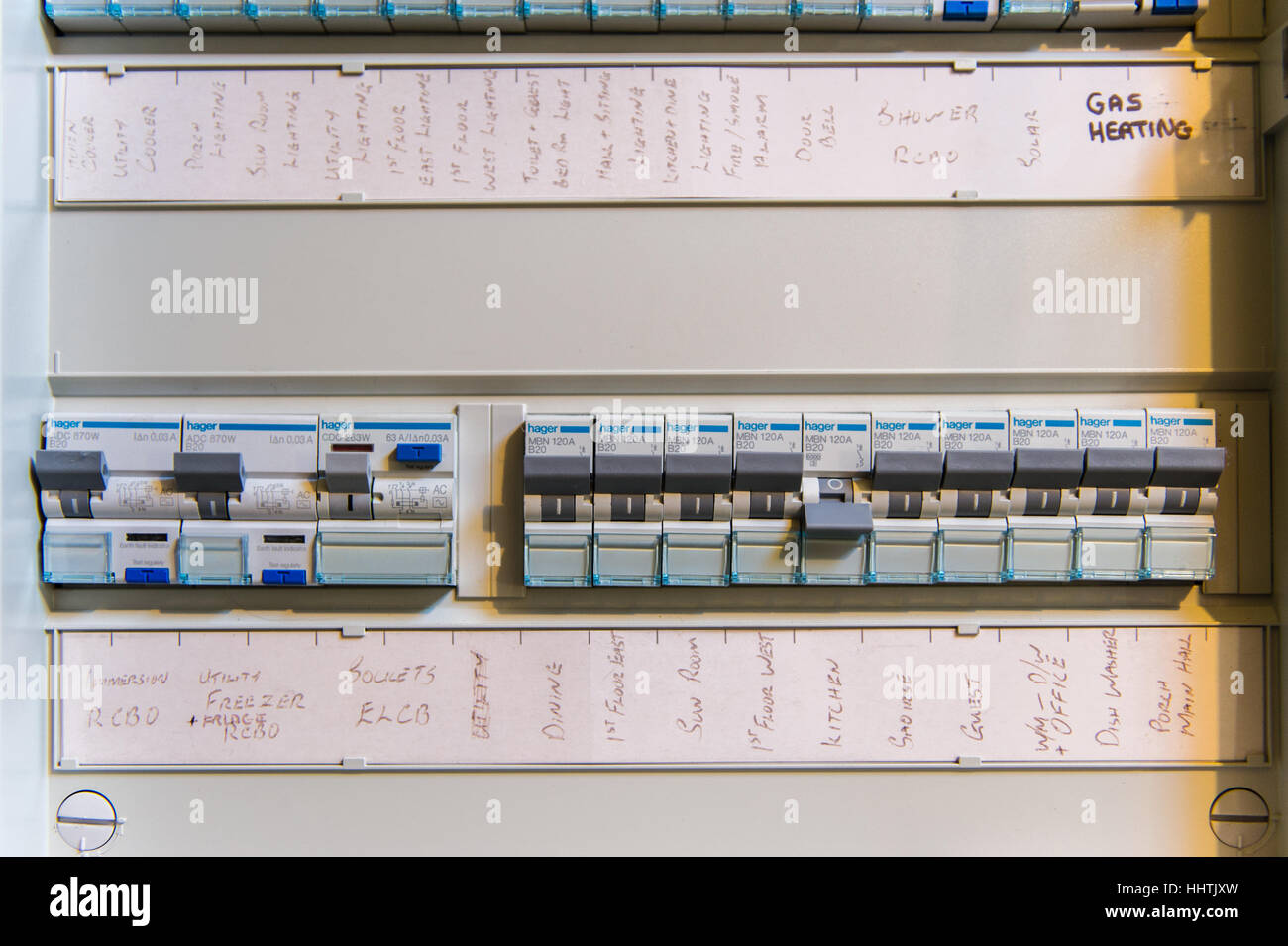 hight resolution of a domestic electric fuse board box with copy space stock image