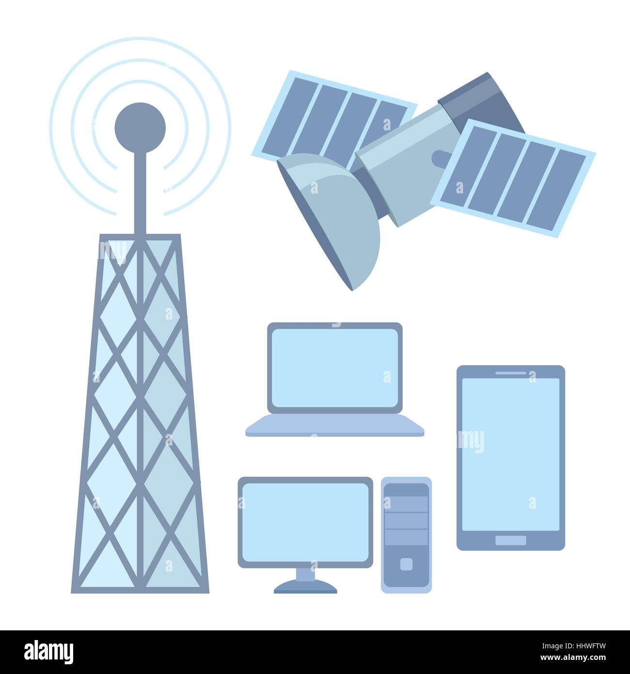 hight resolution of tellecomunication system satellite internet and phone vector illustration