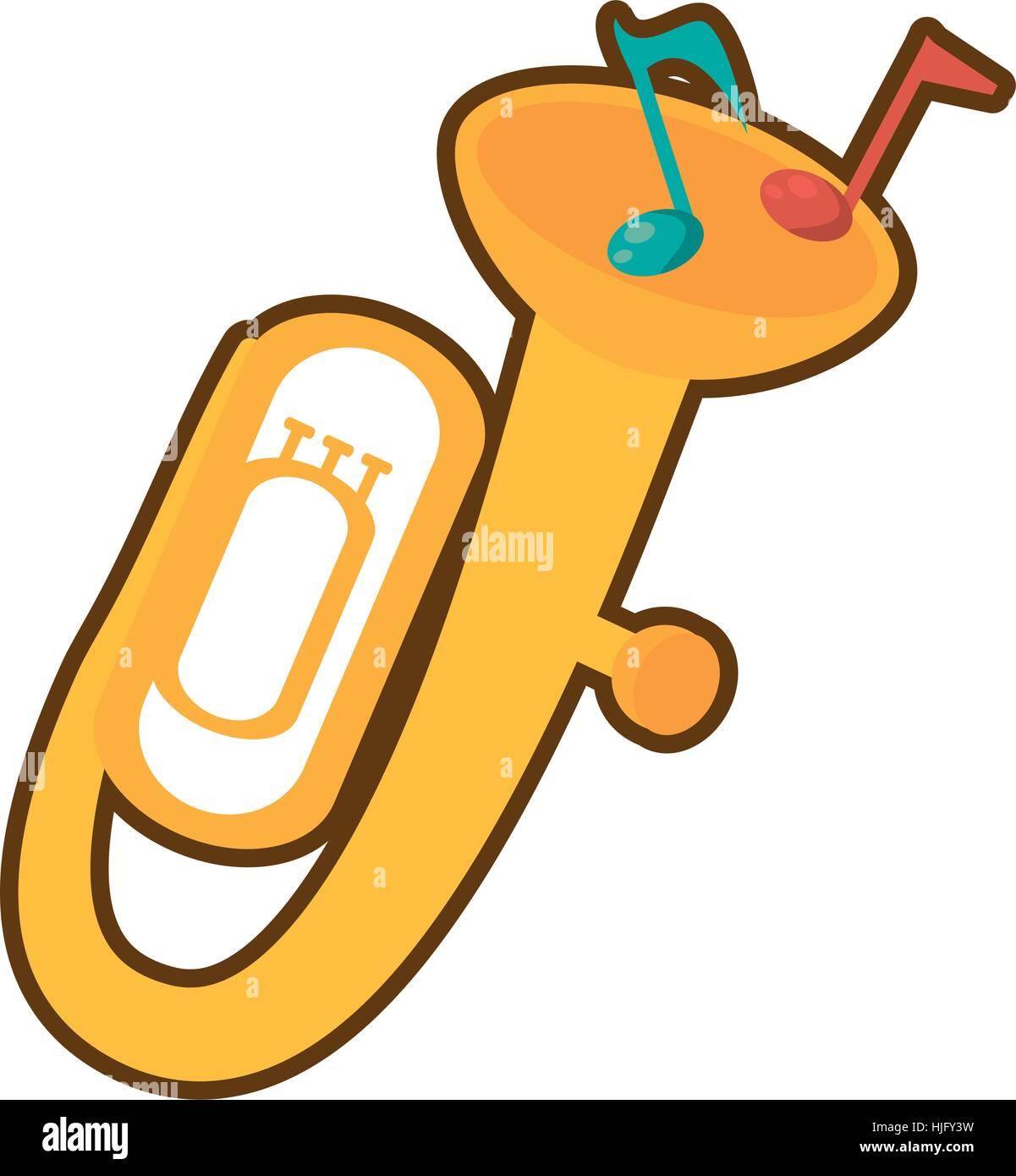 hight resolution of cartoon tuba wind brass music instrument vector illustration eps 10 stock vector