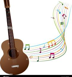 acoustic guitar with musical notes vector illustration design [ 1200 x 1390 Pixel ]
