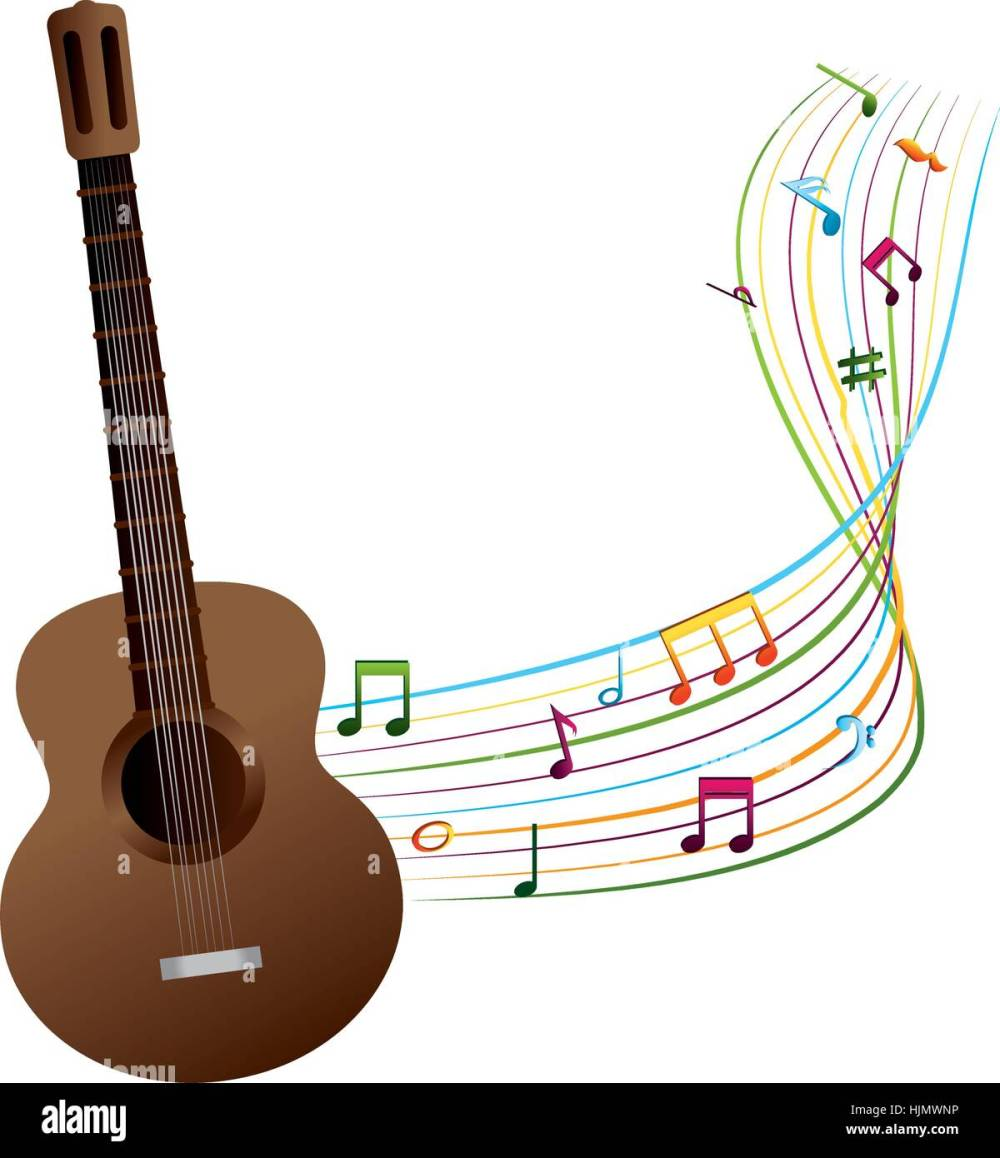 medium resolution of acoustic guitar with musical notes vector illustration design