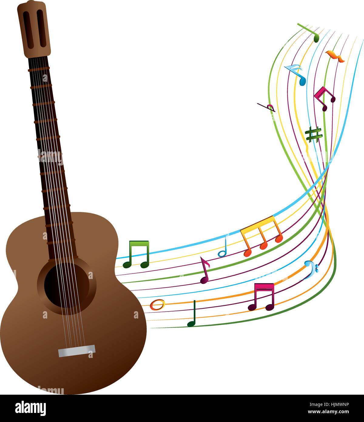 hight resolution of acoustic guitar with musical notes vector illustration design