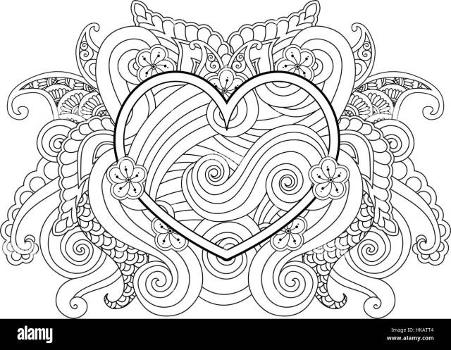 Coloring page with heart and abstract element isolated. Happy