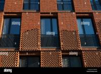 Facade of modern brick apartment house, conceptual design ...