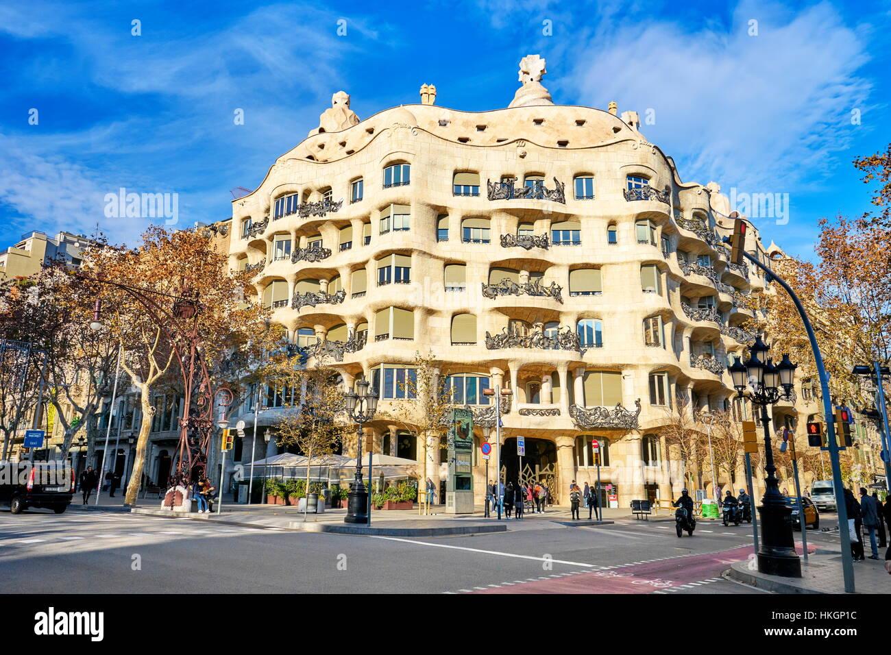 La Pedrera building design by Antoni Gaudi Barcelona Catalonia Stock Photo 132519560  Alamy