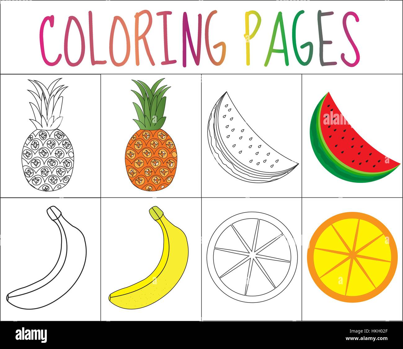 Coloring Book Page Set Fruits Collection Sketch And