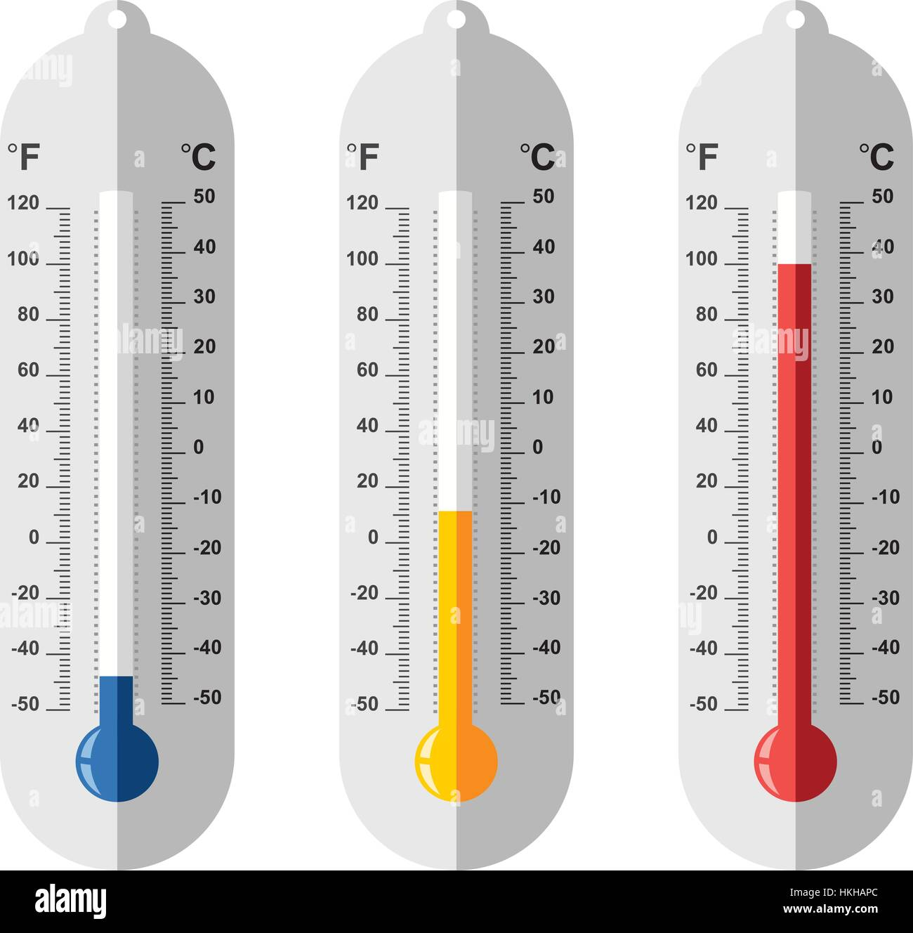 Vector Set Of Flat Thermometer Icons At Different Levels